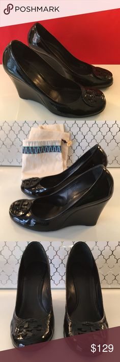 ❤️TORY BURCH BLACK PATENT WEDGES 💯AUTHENTIC ❤️TORY BURCH BLACK PATENT WEDGES 💯AUTHENTIC ! STUNNING AND STYLISH ALWAYS ON TREND! SO PRETTY! ONLY WORN A FEW TIMES! THEY ARE BLACK PATENT LEATHER. THEY ARE A SIZE 9.5 M.  THE WEDGE HEIGHT IS 4 INCHES. THEY COME WITH THE TORY BURCH DUST BAG. A COUPLE MODEST SMUDGES BIT OVERALL JUST WONDERFUL! Tory Burch Shoes Wedges