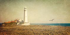 St Mary's Lighthouse - Whitley Bay, via Flickr. | #texture #beige #gold #brown #blue
