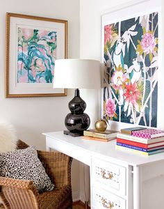 cozamia art print on desk vignette  http://www.thezhush.blogspot.com