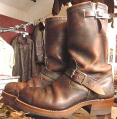 1950's Chippewa  Engineer Boots repair.  Now that's some amazing patina!