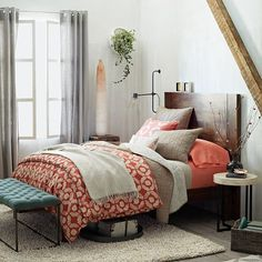 I would love this set in our bedroom, Aaron doesn't like the coral though. Ikat Tile Duvet Cover + Shams - Cherry Cola | west elm