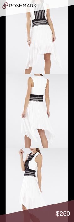 Dress with Pleated Skirt and Lace Trim BCBGMaxAzria sleeveless dress with pleated skirt and black lace-trim in off-white, size: 04 - excellent condition. Crew neckline with contrasting lace trim and waistband, pleated a-line skirt with asymmetrical hem. Concealed center back zip with hook-and-eye closure. BCBGMaxAzria Dresses
