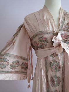 Circa 1910 Silk and Lace Embroidered Day Robe.