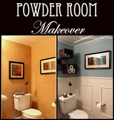 Powder room makeover.. a beadboard ceiling, paint, and frame molding give this tiny bathroom a fresh new look