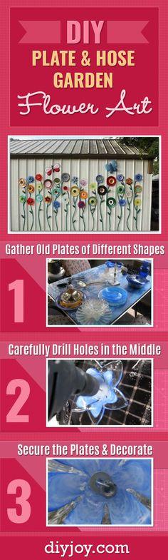 diy-plate-and-hose-garden-flower-art