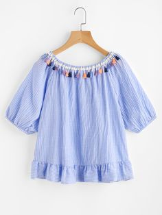 SheIn offers Tassel Trim Detail Pinstripe Frill Hem Top & more to fit your fashionable needs. Girls Fashion Clothes, Girl Fashion, Girl Outfits, Cute Outfits, Fashion Outfits, Summer Clothing, Sleeves Designs For Dresses, Dress Neck Designs, Blouse Designs