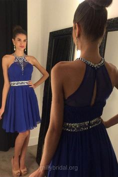 Blue Homecoming Dresses For Cheap,A-line Scoop Neck Chiffon Party Gowns,Short Club Cocktail Dress, Beading Royal Blue Prom Dresses
