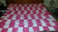 Pink and white rag quilt