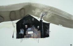 """Dewi Tudur """"Ty Tywyll"""" gouache, Italian ink, watercolour - Ffin y Parc Gallery"""