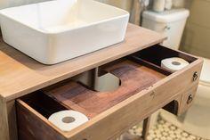 How to turn a vintage dresser into a bathroom vanity (lime wash on vanity)
