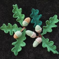 Crocheted oak leaves and acorns. PDF original crochet pattern by Miranda Roberts - acorns and oak Crochet Leaves, Crochet Fall, Crochet Motifs, Crochet Flower Patterns, Knit Or Crochet, Irish Crochet, Crochet Crafts, Hand Crochet, Crochet Flowers