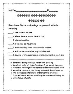 Proverbs and Adages Match Worksheet for 4th and 5th Grade ...