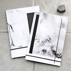 Two A5 Abstract Marble Notebooks, Back and White Minimal Stationery, modern fashion, abstract pocket journal set, recycled paper, gift set by PASiNGA on Etsy