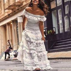 Off Shoulder Solid White Ruffles Short Sleeve Vintage Boho Bohemian Dress Mode Hippie, Mode Boho, Hippie Chic, Beautiful Dresses, Nice Dresses, Summer Dresses, Dresses Dresses, Long Dresses, Dresses Online
