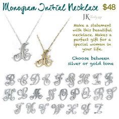 JK by Thirty-One Monogram Initial Necklace APRIL--Spend $35, and get this necklace for ONLY $20!!! www.mythirtyone.com/stacymiller