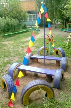 "Creative Idees And Solutions: Build a beautiful Playground in the Harden using old car tires and building a ""Pretend Play"" Boat/ Pirate Ship!"