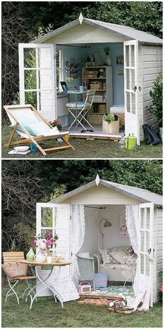 @Michelle Seaman amazing how taking off a few frilly trims and painting it a nice colour one can change a garden shed into a contemporary summer house/shelter near your barbecue