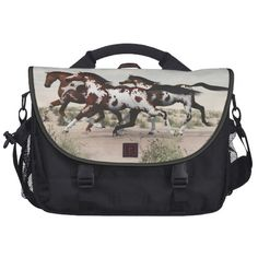 Run Like the Wind - Galloping Paint Horses Laptop Laptop Bags by 3D Designs by Jayne @ Zazzle