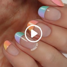 How to get a pastel ombre manicure darbysmart beauty nailpolish nailart nai Frensh Nails, Easy Nails, Cute Nails, Pretty Nails, Hair And Nails, Gel Manicures, Acrylic Nails, Nagellack Design, Nail Design Video