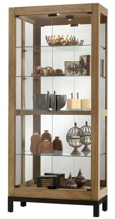 Perfect for displaying your collectibles, the Howard Miller Quinn Cabinet is a handsome piece for your home. Featuring a reclaimed wood look and charcoal finished base, it has 4 adjustable glass shelves, glass front doors, and mirrored back. Cabinet Furniture, Ikea Furniture, Accent Furniture, Glass Shelves, Display Shelves, Storage Shelves, Display Case, Trophy Display, House Plants Decor