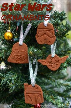 Handmade Star Wars ornaments- 2 ingredient cinnamon applesauce ornaments #Christmas #ornament #craft