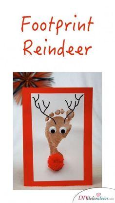 Make original Christmas cards - 40 incredible ideas that will inspire you! Reindeer footprint – making Christmas cards with children Christmas Cards To Make, Christmas Quotes, Christmas Baby, Christmas Time, Christmas Crafts, Christmas Ideas, Reindeer Footprint, Reindeer Craft, Footprint Crafts