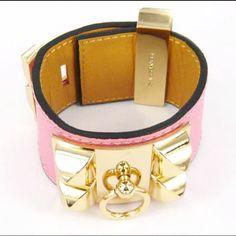 Pink leather Hermes bracelet... Um yes!