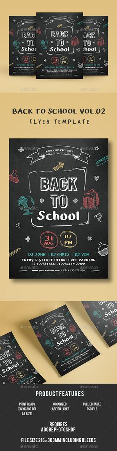 Back to School Flyer Template PSD. Download here: https://graphicriver.net/item/back-to-school/17495618?ref=ksioks