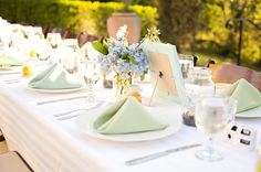 Mint green and blue reception table