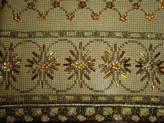 Couture Embroidery, Beaded Embroidery, Cross Stitch Embroidery, Embroidery Designs, Cross Stitch Borders, Bargello, Stitch Design, Clay Beads, Beading Patterns