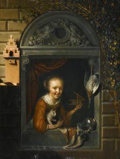 Gerrit Dou - Jong meisje bij een vensterbank