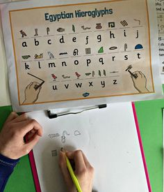 Fun Egyptian activity for young kids to do when they are learning about Ancient Egypt Egyptian Hieroglyphs. Fun Egyptian activity for young kids to do when they are learning abou Ancient Egypt Lessons, Ancient Egypt Activities, Ancient Egypt For Kids, Ancient History, European History, Ancient Aliens, Egyptian Crafts, Egyptian Art, Ancient Egypt Fashion