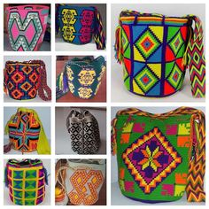 #Wayuu women are experts creating colorful geometric shapes for mochilas; the more complex they are, the more value they have. www.thesuncollection.com #colombia #Guajira #crochet #habdmade #habdwoved #women #bag #hobo #crochet