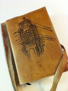 leather journal sketchbook handprinted for you custom by inblue, $25.00