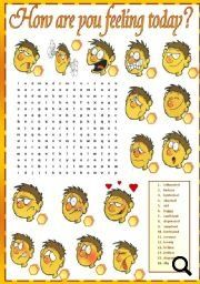 How are You Feeling Today? Wordsearch Puzzle