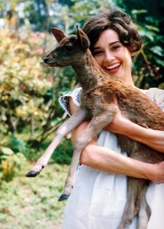 Audrey Hepburn with her pet fawn, Pippin.