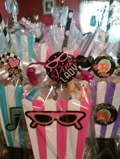'50's Grease themed birthday party treat bags