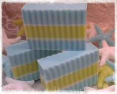 "Made with Olive Oil, Coconut Oil, Palm Oil, Sunflower Oil and Goat Milk.  ""Sea of Love"" fragrance.  Over 5 ounces in each bar.  We also include decorative starfish and shells."