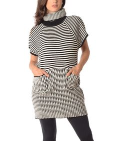 Look at this #zulilyfind! Black & White Pocket Cowl Neck Sweater - Plus by Diva Designs #zulilyfinds