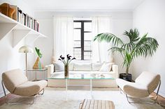 Simple plants compliment the natural, calming palette of this space   domino.com