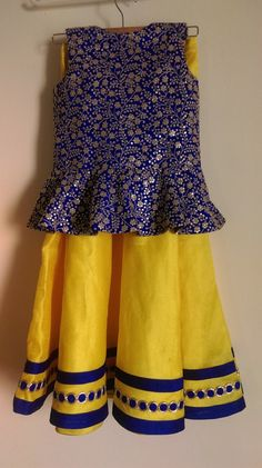 Yellow and Blue Shimmer Lehenga - Indian Dresses Kids Indian Wear, Kids Ethnic Wear, Baby Lehenga, Kids Lehenga, Kids Dress Wear, Kids Wear, Little Girl Dresses, Baby Dresses, Kids Frocks