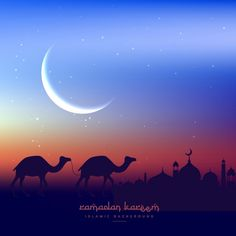 Camels walking at night with mosque Free Vector
