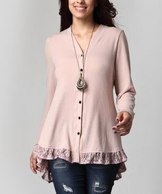 Another great find on #zulily! Mauve Lace-Hem Cardigan - Plus #zulilyfinds