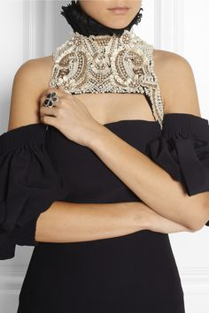 Alexander McQueen Faux pearl and bead-embellished cotton harness NET-A-PORTER.COM