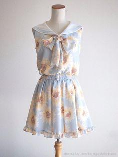 LIZ LISA Sunflower pattern Sailor tops Skirt Dress SET Hime Lolita Kawaii Japan #LIZLISA #BeachDressSeparatedressTopsskirtSET #Shibuya109Lolitafashion