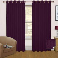 Thermal Blackout Eyelet Curtain Pair Aubergine
