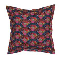 Serama Throw Pillow featuring SCALES MERMAID JAPANESE DRAGON FAN FISH FISHES PINK RED by paysmage   Roostery Home Decor