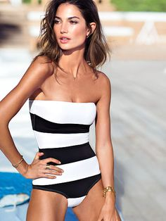 stripes, black and white, bathing suits