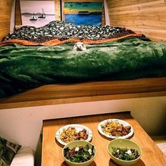 I love this idea! In my head I'm picturing to cushioned boxes with drawer storage to serve as both chairs and a stepping stool to the bed since I'm short, the pull put table and then under the bed to the doors different storage compartments for our hiking gear and my camera equipment