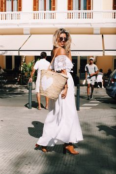 SUNSETS AND EXPLORATION | White Off-the-shoulder Maxi Dress by Wild Side of St Barth, Sunglasses by Fendi, Bag from Ibiza